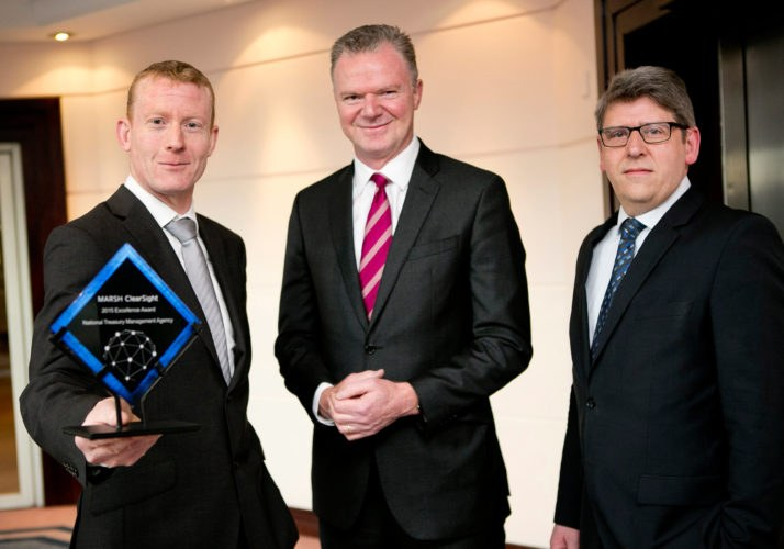 In photo from left to right: Mike Sweeney (Programme Manager, SCA), Conor O'Kelly (CEO, NTMA), Pat Kirwan (NIMS Project Sponsor, Deputy Director, SCA)