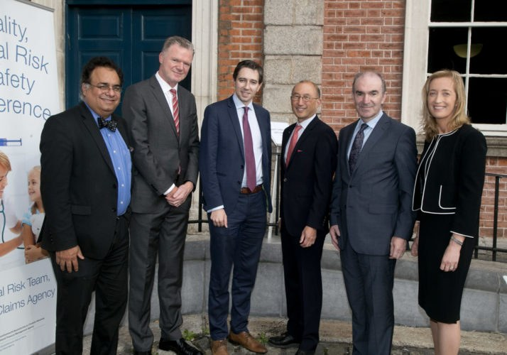 From left to right: Prof. Ajay Singh (Harvard Medical School / Brigham and Women's Hospital), Mr. Conor O'Kelly (CEO, NTMA), Minister for Health Simon Harris, Prof. Albert Wu (Johns Hopkins Hospital), Mr. Ciarán Breen (Director, SCA), and Dr. Dubhfeasa Slattery (Head of Clinical Risk, SCA) outside Dublin Castle at the Quality, Clinical Risk and Safety Conference September 12th 2016.